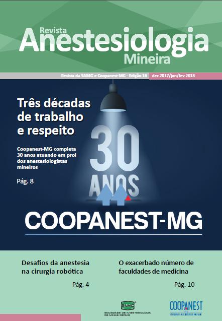 Capa da Revista Anestesiologia Mineira, com a matéria de capa sobre os 30 anos da Coopanest